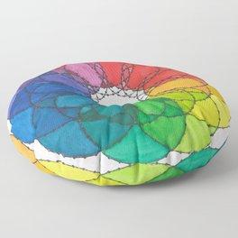 """""""Scarlett"""" Watercolor Rainbow Mandala Floor Pillow"""