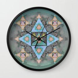 Stellated Cosmic Meditation Mandala in Patel Tones Wall Clock