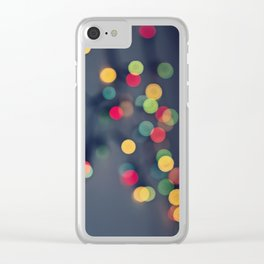 Blurred background with multicolored lights of garland Clear iPhone Case