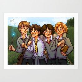 Les Amis at Hogwarts Art Print