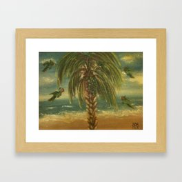 """THE BEACH DAY WITH PARROTS"" Framed Art Print"