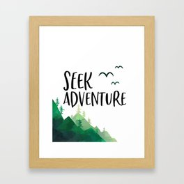 Seek Adventure, Tree Print, Kids Room Decor, Typography Art, Nursery Decor Framed Art Print