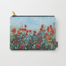 Poppy Flowers Landscape Painting, Palette Knife Artwork Carry-All Pouch
