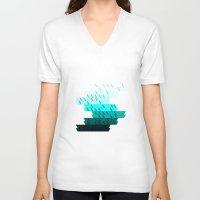 aqua V-neck T-shirts featuring Aqua by Luca Giobbe