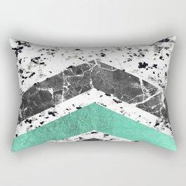 Geometrical black white turquoise marble chevron Rectangular Pillow