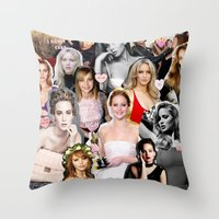 jennifer lawrence Throw Pillows featuring Jennifer Lawrence by lastminutebinge
