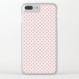 Taupe Polka Dots on Pink Clear iPhone Case