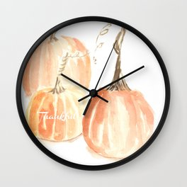 Thankful Twisted Stem Pumpkins (in watercolor) Wall Clock