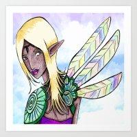 elf Art Prints featuring Elf by Flying Cat Artwork