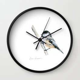 """""""Chicka-dee-dee-dee"""" a painting of a Chickadee by Teresa Thompson Wall Clock"""