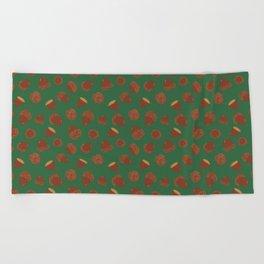 Acorns on Green Beach Towel