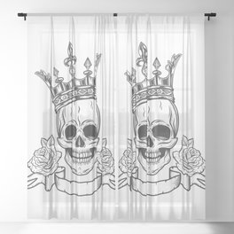 Vintage Prince Skull in Crown with Rose and Ribbon. Black and White. Art Print Sheer Curtain