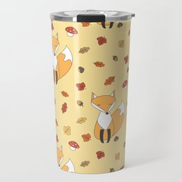 cute autumn pattern with leaves, foxes, mushrooms, acorns and chestnuts Travel Mug