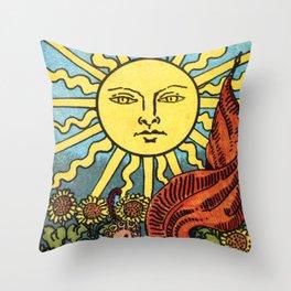 XIX. The Sun Tarot Card Throw Pillow