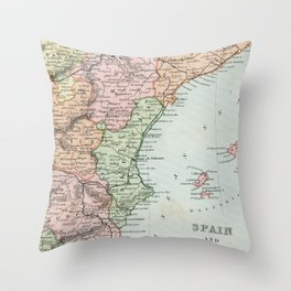 Vintage Map of Spain and Portugal Throw Pillow