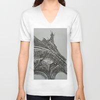 eiffel V-neck T-shirts featuring Eiffel by Esteban Garza