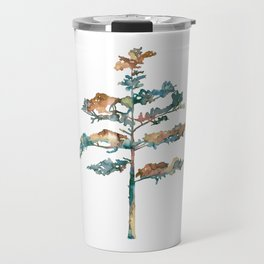 Pine Tree #2 in pink and blue - Ink painting Travel Mug