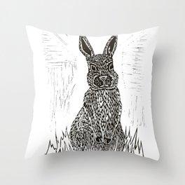 Rabbit Lino Print Throw Pillow