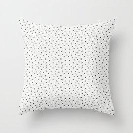 Hand painted black white watercolor polka dots brushstrokes Throw Pillow