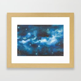 Blue Watercolor Galaxy Framed Art Print