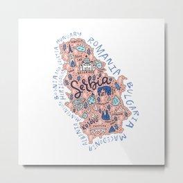 Map of Serbia Metal Print