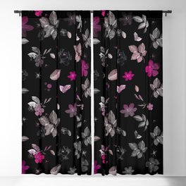 Pink Flowers & White Roses Blackout Curtain