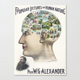Vintage Phrenology Chart   The Human Brain   Vintage Charts    Canvas Print
