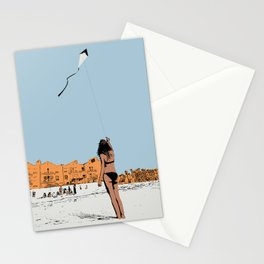 Flying a Kite at the Beach Stationery Cards