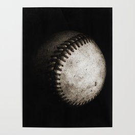 Battered Baseball in Black and White Poster