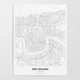 New Orleans, United States Minimalist Map Poster