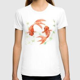 Koi Fish, Feng Shui, Goldfish art, Two fish, T-shirt