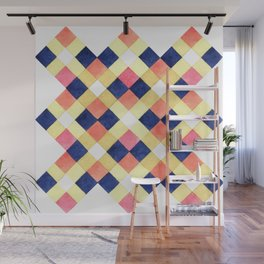 Colorful pink yellow navy blue watercolor geometrical pattern Wall Mural