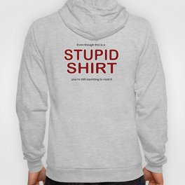 Even though this is a STUPID SHIRT you're still squinting to read it. Hoody