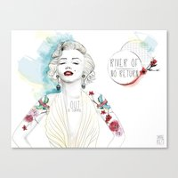 marylin monroe Canvas Prints featuring Marylin Monroe  by sarah rie