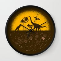 pocket fuel Wall Clocks featuring Fossil Fuel by Graham Dobson