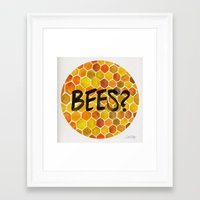 bees Framed Art Prints featuring BEES? by Cat Coquillette
