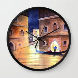 Venice Italy Evening Gondola Ride Wall Clock