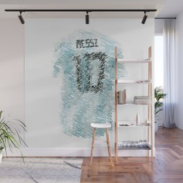 Messi Football Shirt Drawing Wall Mural