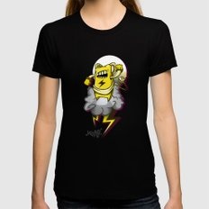 StormBot - yellow robot SMALL Black Womens Fitted Tee
