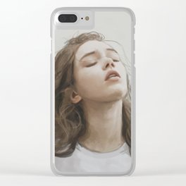 A girl floating in the air Clear iPhone Case