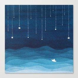 Falling stars, blue, sailboat, ocean Canvas Print