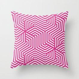 Deep cerise - fuchsia - Minimal Vector Seamless Pattern Throw Pillow