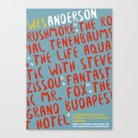 wes anderson Canvas Prints featuring Wes Anderson - The Life Aquatic by Laura Mace Design