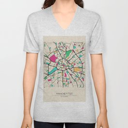 Colorful City Maps: Manchester, England Unisex V-Neck