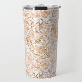 Gold Florals on Pink Marble Travel Mug