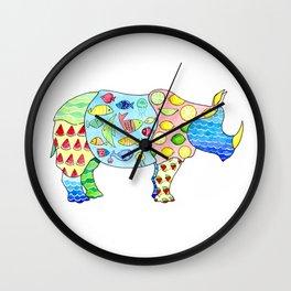 Rhino on Vacation Wall Clock