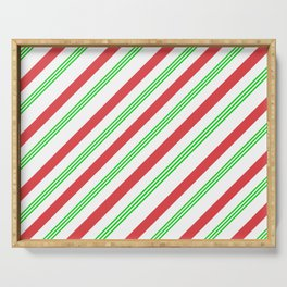Red and Green Candy Cane Stripes Serving Tray