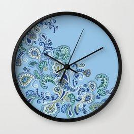 FANCY PAISLEY BLUE GREEN Wall Clock