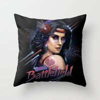 battlefield Throw Pillows featuring Love is a Battlefield by Rocky Davies