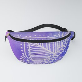 Mandala flower on watercolor background - purple and blue Fanny Pack